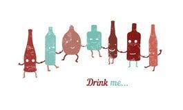 El cartel retro me bebe Colección de botellas divertidas Fotos de archivo
