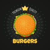 El cartel superior de la hamburguesa de la calidad, la etiqueta engomada con la corona de oro y la tiza irradia stock de ilustración