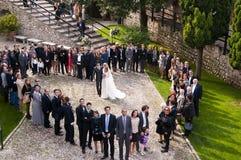 El casarse en el castillo de Scalieri en Malcesine en el lago Garda Italia Fotos de archivo libres de regalías