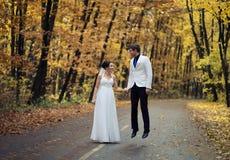 El casarse en parque del otoño foto de archivo
