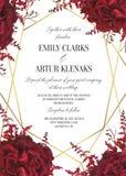 El casarse floral invita, diseño de tarjeta del invtation Flor del jardín rojo del marsala de la acuarela, flor del amaranto y eu ilustración del vector