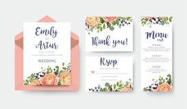 El casarse invita al menú de la invitación le agradece vector de la tarjeta del rsvp floral stock de ilustración