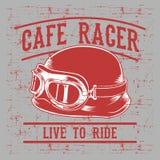 El casco del motorista del corredor del café con la inscripción vive al Paseo-paseo para vivir Arte de la tipografía del vintage  ilustración del vector