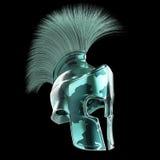 el casco espartano de alta calidad, gladiador romano griego del guerrero, soldado heroico del legionario, fan de los sprts rinde  Imagen de archivo libre de regalías