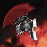 el casco espartano de alta calidad, gladiador romano griego del guerrero, soldado heroico del legionario, fan de los sprts rinde  Imágenes de archivo libres de regalías