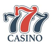 El casino de lujo 777 aisló el emblema promocional minimalistic de la historieta Imagenes de archivo