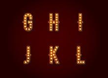 El casino o Broadway firma la letra Charac del alfabeto de la bombilla del estilo libre illustration