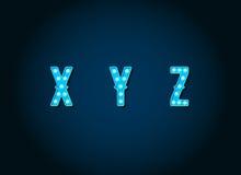 El casino o Broadway firma letras azules del alfabeto de la bombilla del estilo stock de ilustración