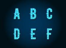 El casino o Broadway firma letras azules del alfabeto de la bombilla del estilo ilustración del vector