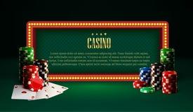 El casino salta la bandera y tarjetas del vintage de la lámpara stock de ilustración