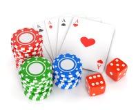 El casino salta, los naipes y corta en cuadritos stock de ilustración