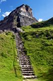 El Castillo. Scenic view of steps leading to El Castillo Mayan pyramid, Xunantunich, Belize Royalty Free Stock Photography