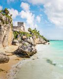 El Castillo and Caribbean beach - Mayan Ruins of Tulum, Mexico royalty free stock photo