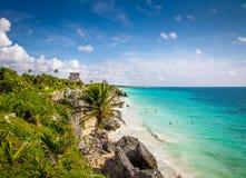 El Castillo and Caribbean beach - Mayan Ruins of Tulum, Mexico Royalty Free Stock Image
