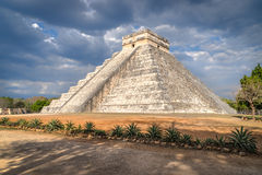 El Castillo at Chichen Itza in Mexico. Step-pyramid - El Castillo, or the Castle, at Chichen Itza in Mexico Stock Photo