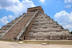 El Castillo, Chichen Itza. El Castillo Spanish for `the castle`, also known as the Temple of Kukulcan, is a Maya pyramid that dominates the center of the Chichen Stock Photography