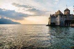 El castillo de Chillon en Montreux, Suiza Foto de archivo libre de regalías