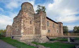 El castillo de Colchester mantiene visto de esquina del oeste del sur foto de archivo libre de regalías