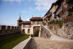 El castillo de Gruyères (Château de Gruyères) Fotos de archivo libres de regalías