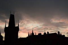 El castillo de Praga; silueta Foto de archivo libre de regalías
