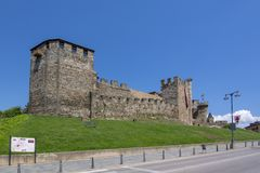 El castillo de Templar de Ponferrada adornó para la celebración de Imagen de archivo
