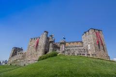 El castillo de Templar de Ponferrada adornó para la celebración de Fotos de archivo