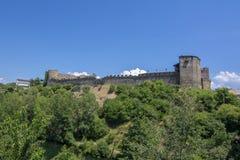 El castillo de Templar de Ponferrada adornó para la celebración de Foto de archivo libre de regalías