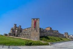 El castillo de Templar de Ponferrada adornó para la celebración de Imagen de archivo libre de regalías