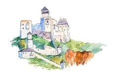 El castillo de Trencin encima de las señales famosas de la colina ejemplo del waercolor viaja y del turismo stock de ilustración
