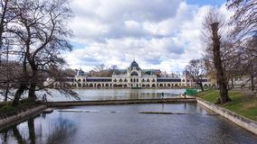 El castillo de Vajdahunyad es un castillo en el parque de la ciudad de Budapest, Hungr?a foto de archivo libre de regalías