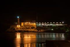 EL castillo del morro alla notte Fotografia Stock