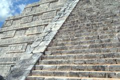 El Castillo details. closeup to a Mexican Pyramid. Temple of Kukulcan in Chichen Itza, Mexico Royalty Free Stock Images