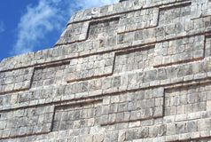 El Castillo details. closeup to a Mexican Pyramid. Temple of Kukulcan in Chichen Itza, Mexico Royalty Free Stock Photo