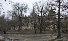 El castillo detrás de los árboles Imagen de archivo libre de regalías