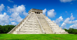 El Castillo The Kukulkan Temple of Chichen Itza, mayan pyramid in Yucatan, Mexico No People Stock Photo