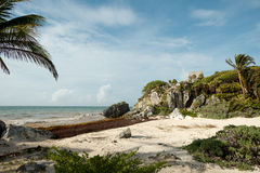 El Castillo over the Beach at the Tulum Ruins in  Mexico Stock Photography