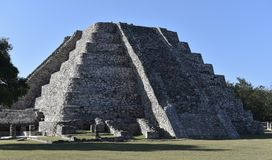 El Castillo. This is a picture of the Pyramid known as El Castillo located in the Mayapán Archeological Zone in Mayapán, Mexico.  This period honoring Kukulkan Royalty Free Stock Image