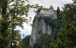 El castillo sangrado construido encima de un lago de desatención del acantilado sangró, localizado en sangrado, Eslovenia fotos de archivo libres de regalías