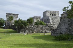 El Castillo at Tulum North End. Photo from northern end of El Castillo at Mayan ruins site in Tulum Mexico with the Palace in foreground stock images