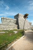El Castillo at the Tulum Ruins in  Mexico Royalty Free Stock Photography
