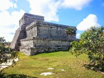 El Castillo Tulum Ruins Quintana Roo, Mexico. A view of the north east facing sides of the ancient Mayan ruin El Castillo located in the Zona Arqueológica de Royalty Free Stock Photos