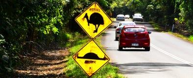 El casuario peligro señal adentro Queensland Australia Fotos de archivo libres de regalías
