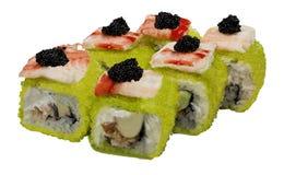 El caviar del sushi rueda los mariscos del menú de la comida Fotografía de archivo libre de regalías