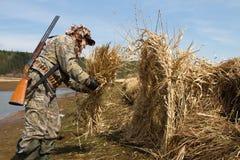 El cazador del pato construye una persiana de búsqueda de cañas foto de archivo
