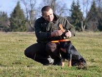 El cazador frota ligeramente su perro Fotos de archivo