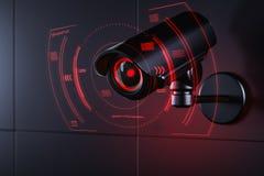 El Cctv est? comprobando la informaci?n sobre ciudadano en el sistema de seguridad de vigilancia, concepto de sistema social del  stock de ilustración