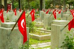 El cementerio de los mártires de la fuerza aérea de Eskisehir Visnelik con las banderas turcas fotografía de archivo libre de regalías