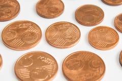 El centavo euro acuña, pila de monedas del centavo euro Fotografía de archivo libre de regalías