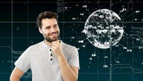 El centrarse masculino en un globo