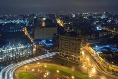 El centro de ciudad de Lima en el nigth Foto de archivo libre de regalías